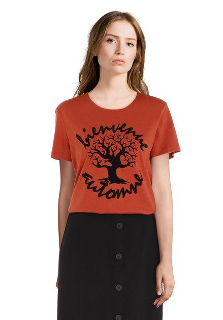 Oranje T-shirt met zwarte fluwelen print