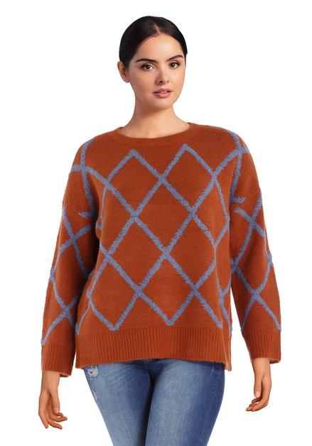 Oranjebruine trui met blauwe ruiten
