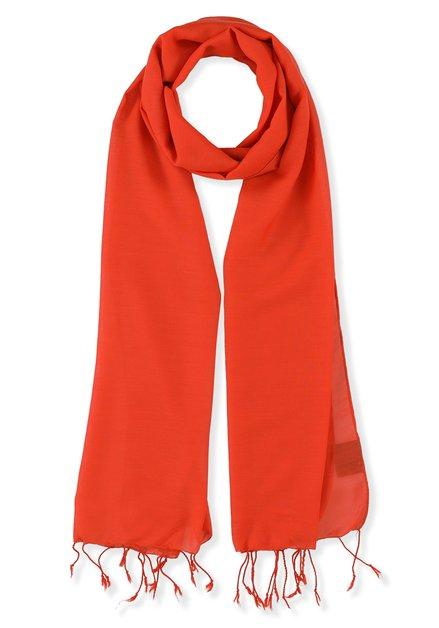 Oranjerode sjaal met franjes
