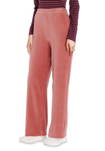 Oudroze broek in geribd fluweel - straight fit