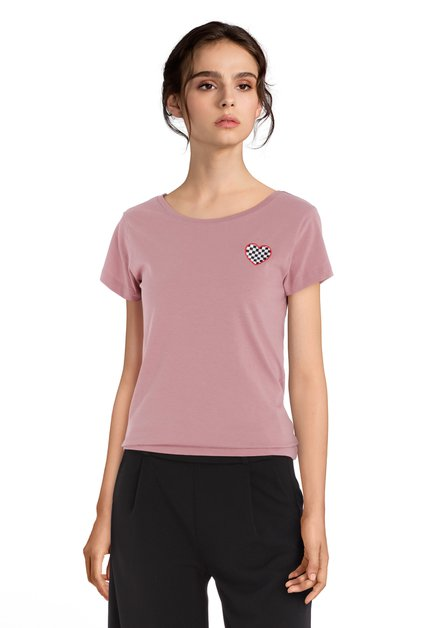 Oudroze katoenen T-shirt met hartje