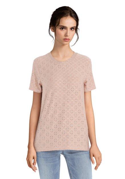 Oudroze T-shirt met geperforeerde bloemenprint