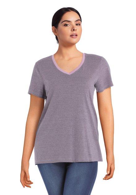 Paars T-shirt met V-hals