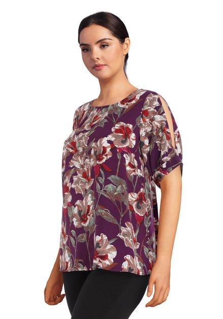 Paarse blouse met bloemen en open schouders