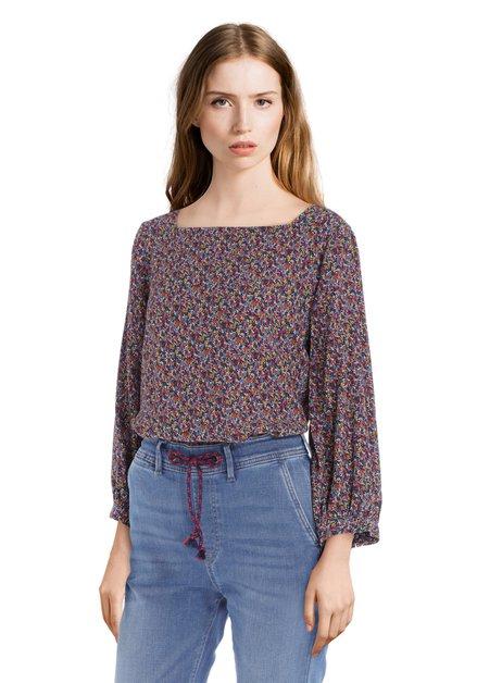 Paarse blouse met kleine bloemen