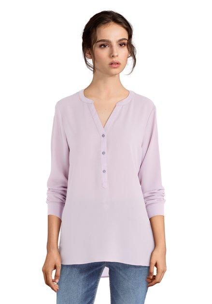 Paarse blouse met korte knopenlijst