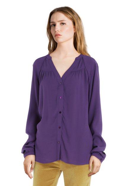 Paarse blouse met lange mouwen