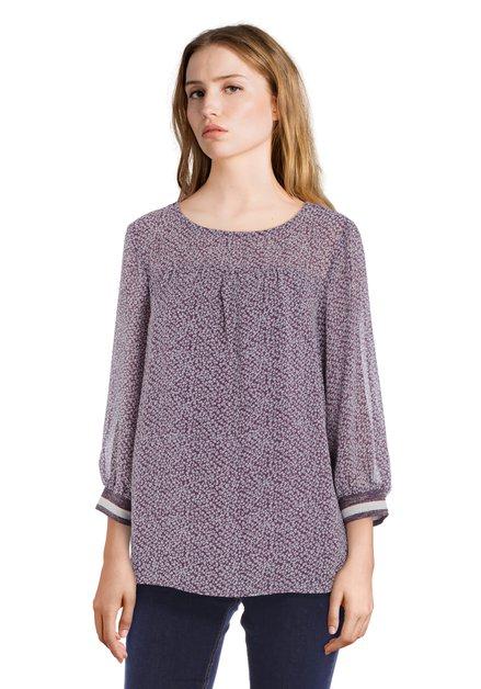 Paarse blouse met lichtgrijze miniprint