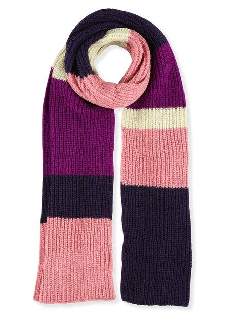 Paarse en roze gebreide sjaal
