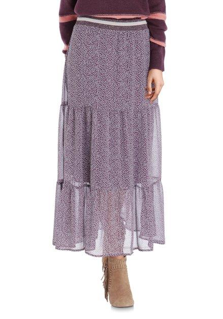 Paarse lange rok met lichtgrijze miniprint