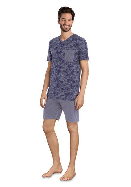 Paarse pyjama met bladerprint - korte mouwen/broek
