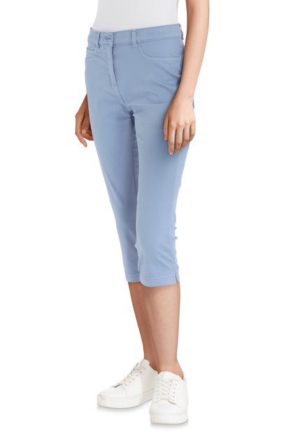 Pantalon 3/4 bleu clair à strass