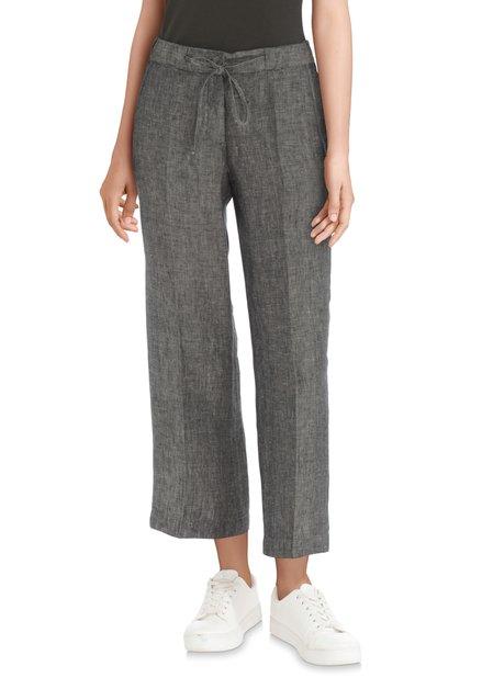 Pantalon 7/8 gris/vert en lin