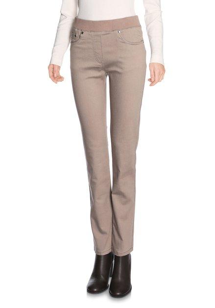 Pantalon beige taille élastique - Jambe longue