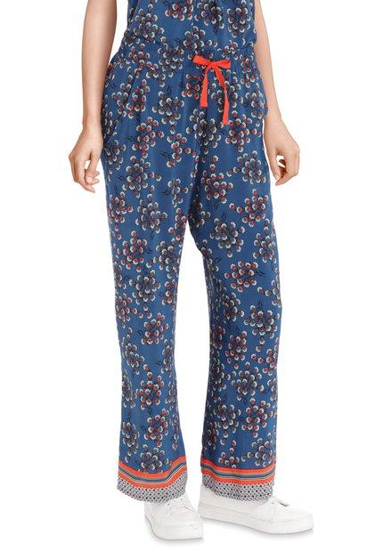 Pantalon bleu avec imprimé à fleurs – loose fit
