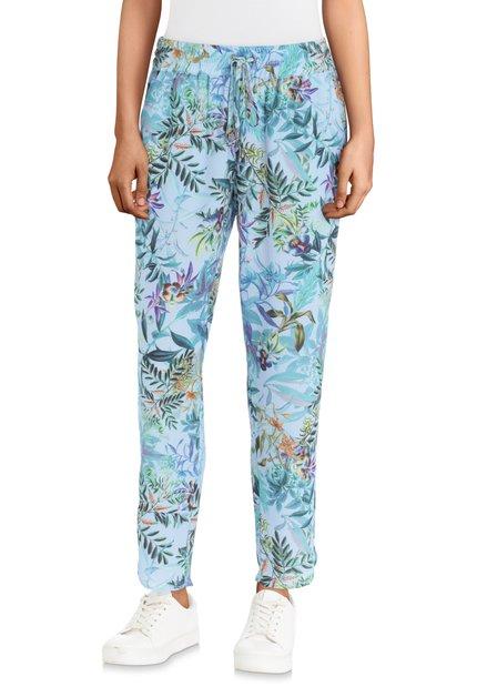 Pantalon bleu avec imprimé jungle – regular fit