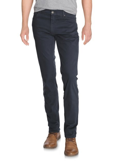 Pantalon bleu en coton stretch - Straight fit