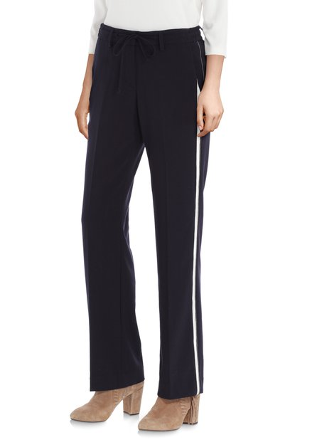 Pantalon bleu foncé à galon blanc – straight fit