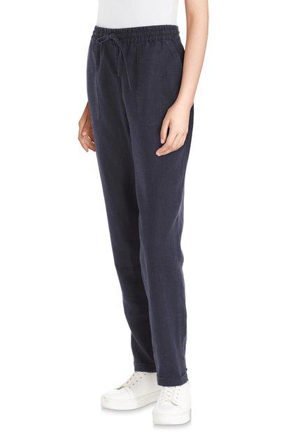 Pantalon bleu foncé en lin