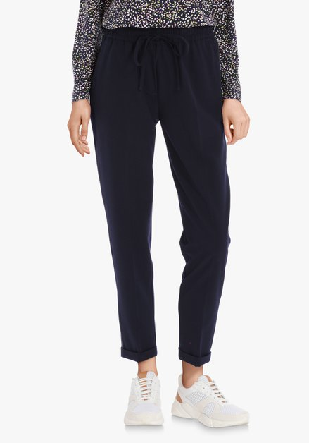 Pantalon bleu marine à galon argenté – slim fit
