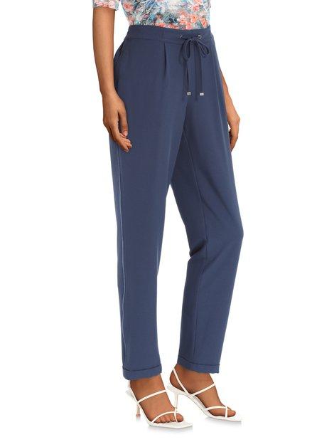 Pantalon bleu marine à galon ton sur ton