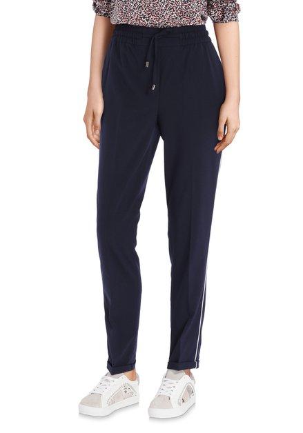 Pantalon bleu marine à rayures blanches – slim fit
