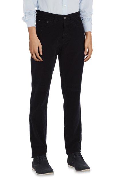 Pantalon bleu marine en velours côtelé – slim fit