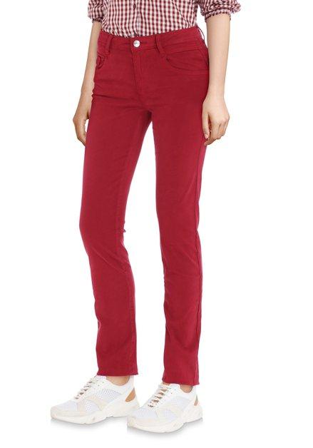 Pantalon bordeaux avec coating doux - slim fit
