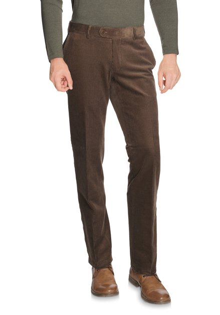 Pantalon brun en velours Louisiana - Regular fit