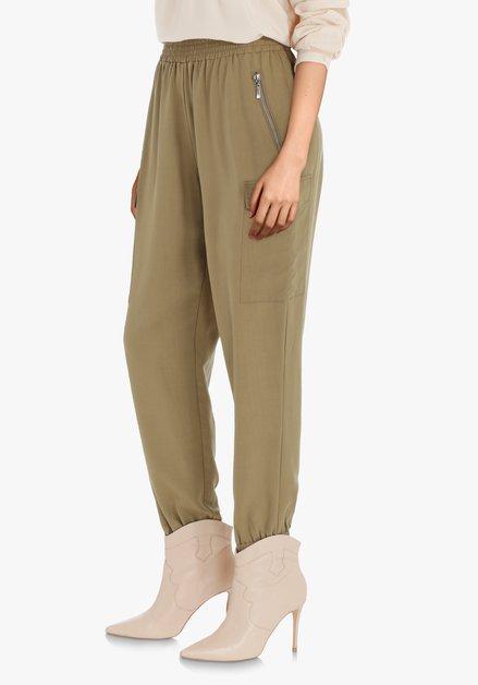 Pantalon cargo kaki en lyocell – slim fit