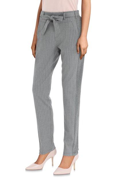 Pantalon classique gris à rayures roses