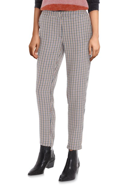 Pantalon écru à carreaux – slim fit
