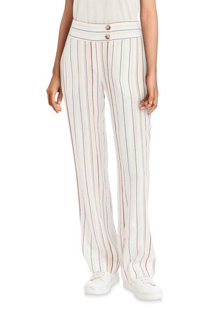 Pantalon écru en lin avec rayures