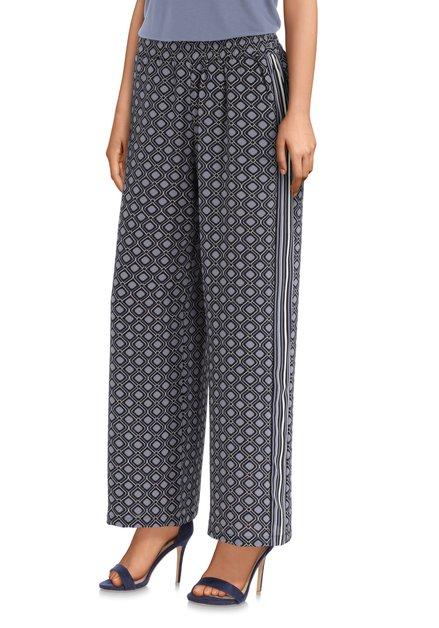 Pantalon gris à motif bleu