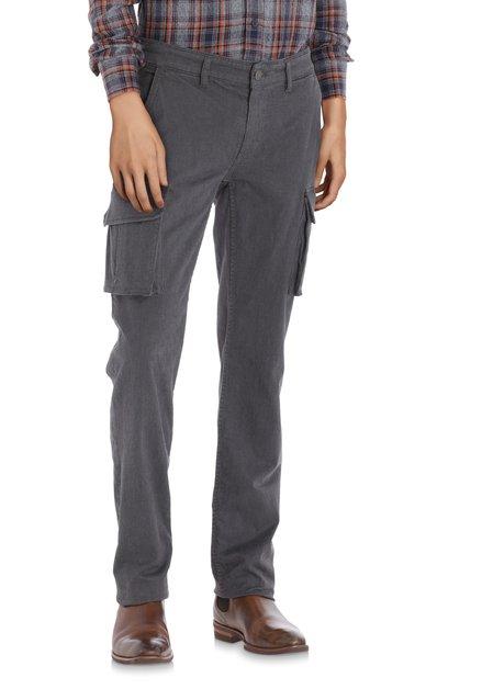 Pantalon gris avec mini-motif – slim fit