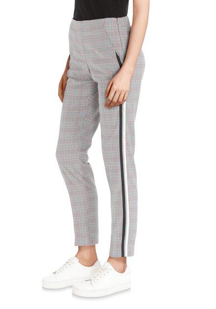 Pantalon gris-rouge avec gallons sportifs