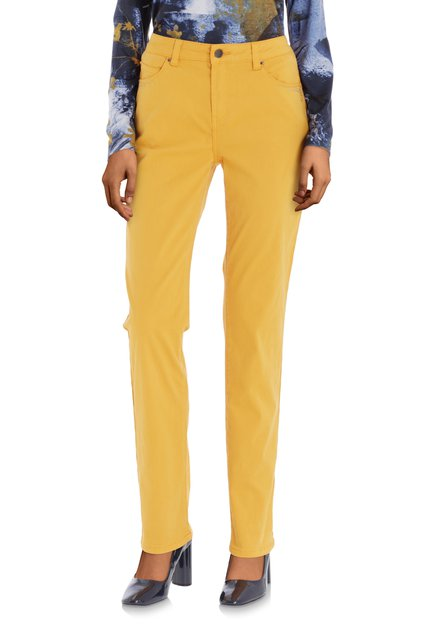 Pantalon jaune moutarde avec strass – straight fit