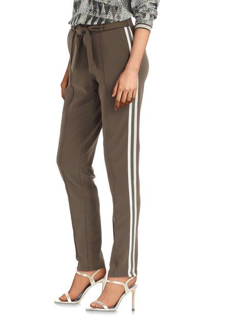 Pantalon kaki avec galons sportifs en lurex