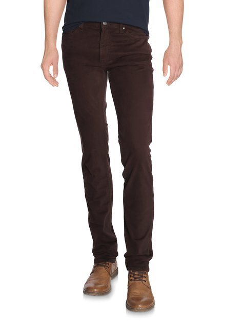 Pantalon marron en coton stretch - Slim fit