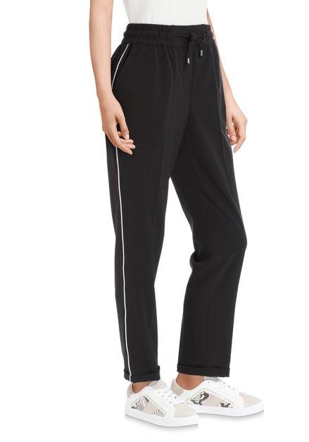 Pantalon noir à galon blanc