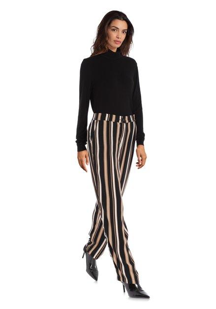 Pantalon noir à rayures beiges – straight fit
