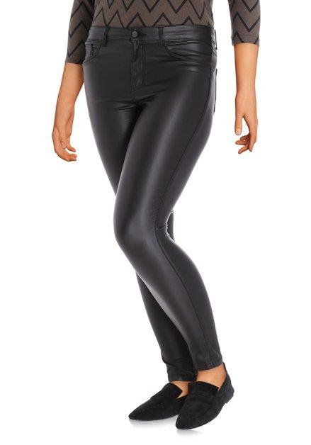 Pantalon noir avec enduit - slim fit