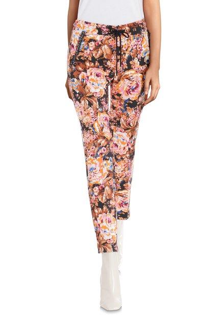 Pantalon orange à imprimé floral - slim fit
