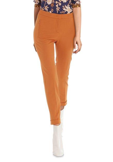 Pantalon orange rouille à ceinture rose – slim fit