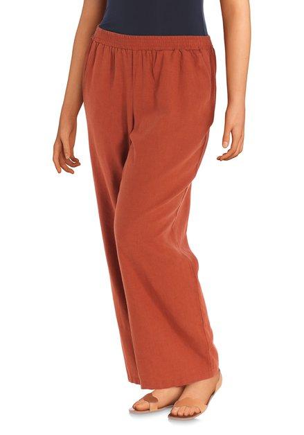 Pantalon rouge brique en lin – loose fit