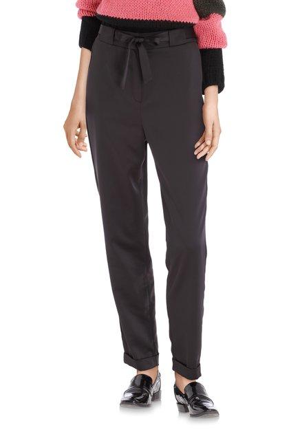 Pantalon soyeux noir avec ruban à nouer - slim fit