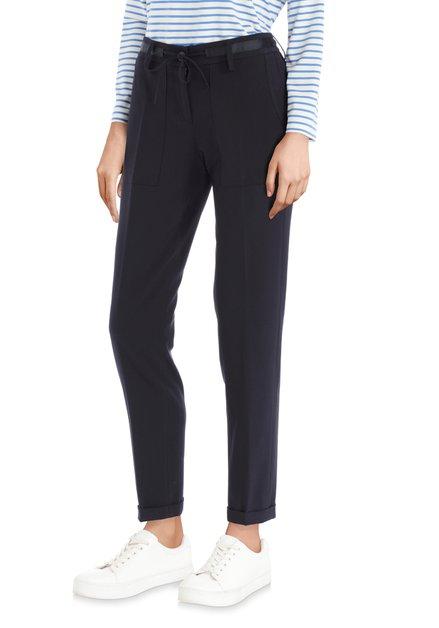 Pantalon stretch bleu foncé avec ruban à nouer