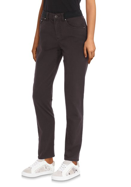 Pantalon stretch brun foncé – slim fit