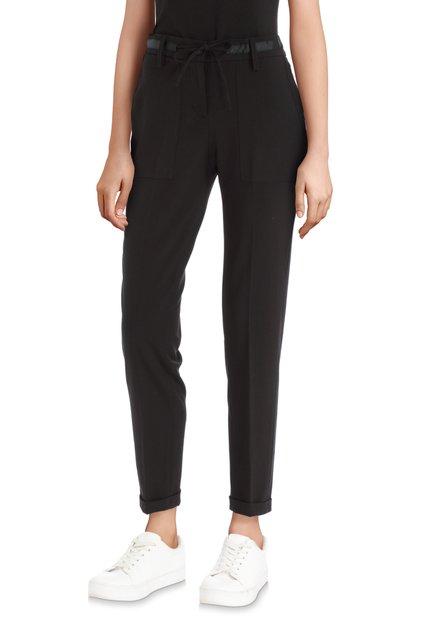Pantalon stretch noir avec ruban à nouer