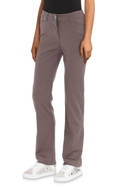 Pantalon taupe avec mini imprimé – slim fit